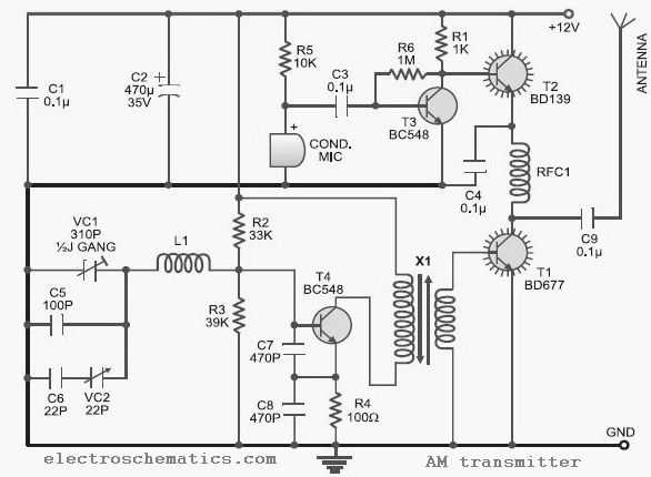10 to 15 MHz AM Transmitter Circuit - schematic