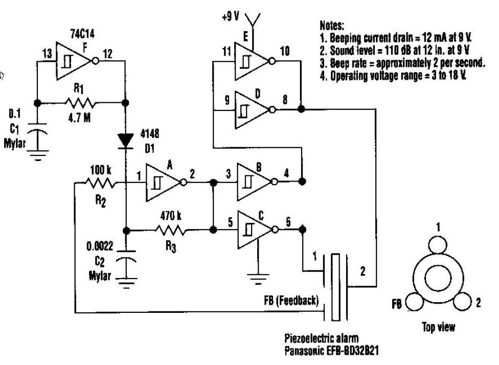 110dB Beeper Circuit - schematic