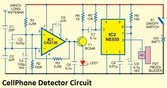 Cell Phone Detector aka Mobile Bug - schematic