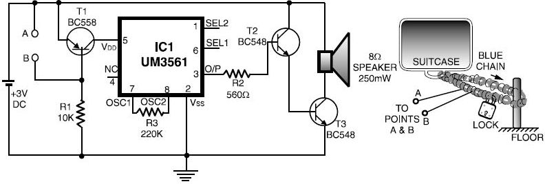 Luggage Bike Security Alarm Circuit - schematic