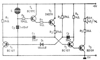 Simple Electronic bell circuit using transistors - schematic