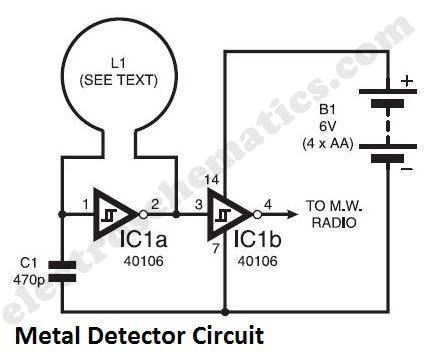 Simple Metal Detector Circuit - schematic