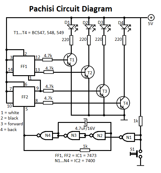 Pachisi Game Circuit - schematic