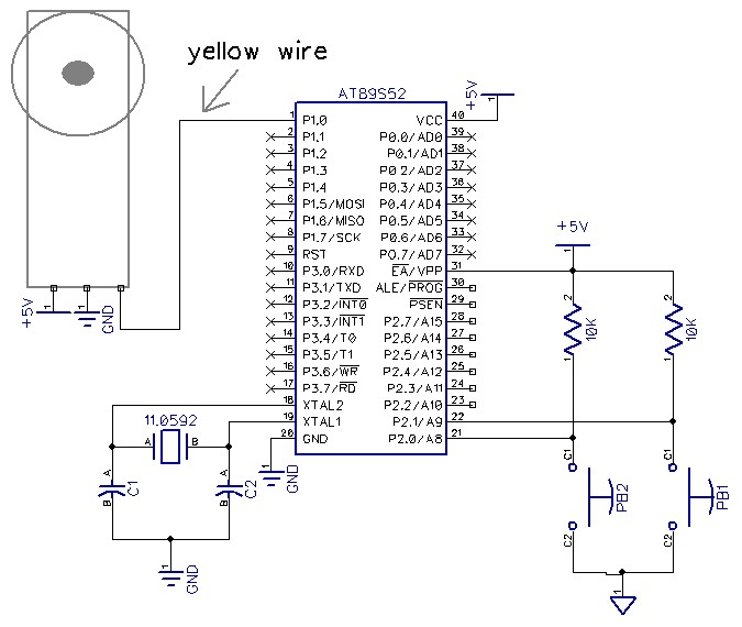 Servo Motor Control using At89S52 - schematic
