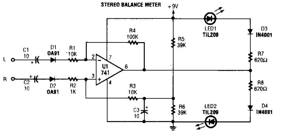 Stereo Balance Indicator Circuit - schematic