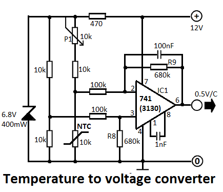 Temperature to Voltage Converter Circuit - schematic