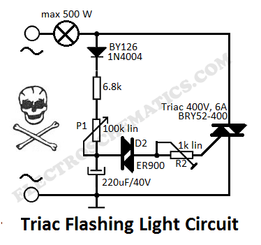 Flashing Light with Triacs - schematic