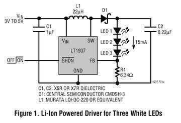 White LED Step-Up Converter in SC70 and ThinSOT - schematic