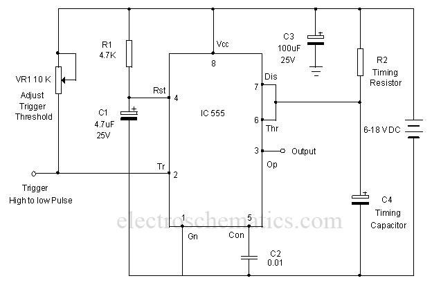 Precision Monostable Multivibrator Circuit - schematic