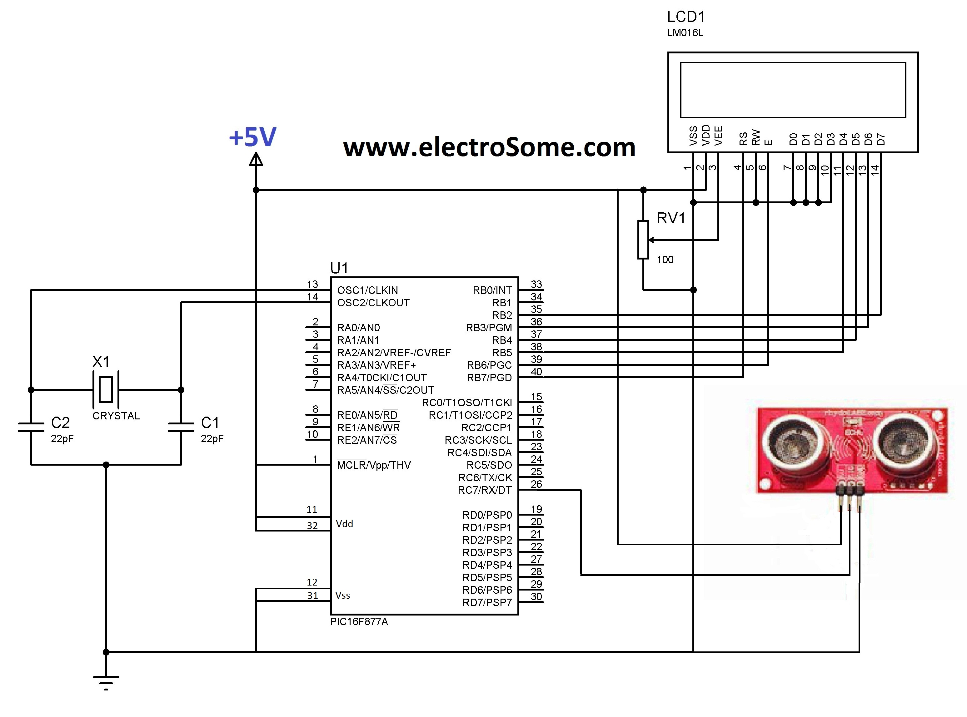 Ultrasonic Circuit Page 4 Audio Circuits Preamplifiers 8 Nextgr Interfacing Distance Sensor Ascii Pic Microcontroller