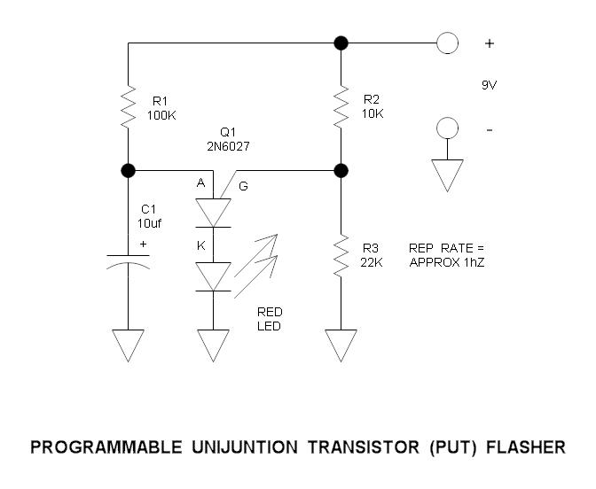 Programmable Unijunction Transistor (PUT) Flasher Circuit