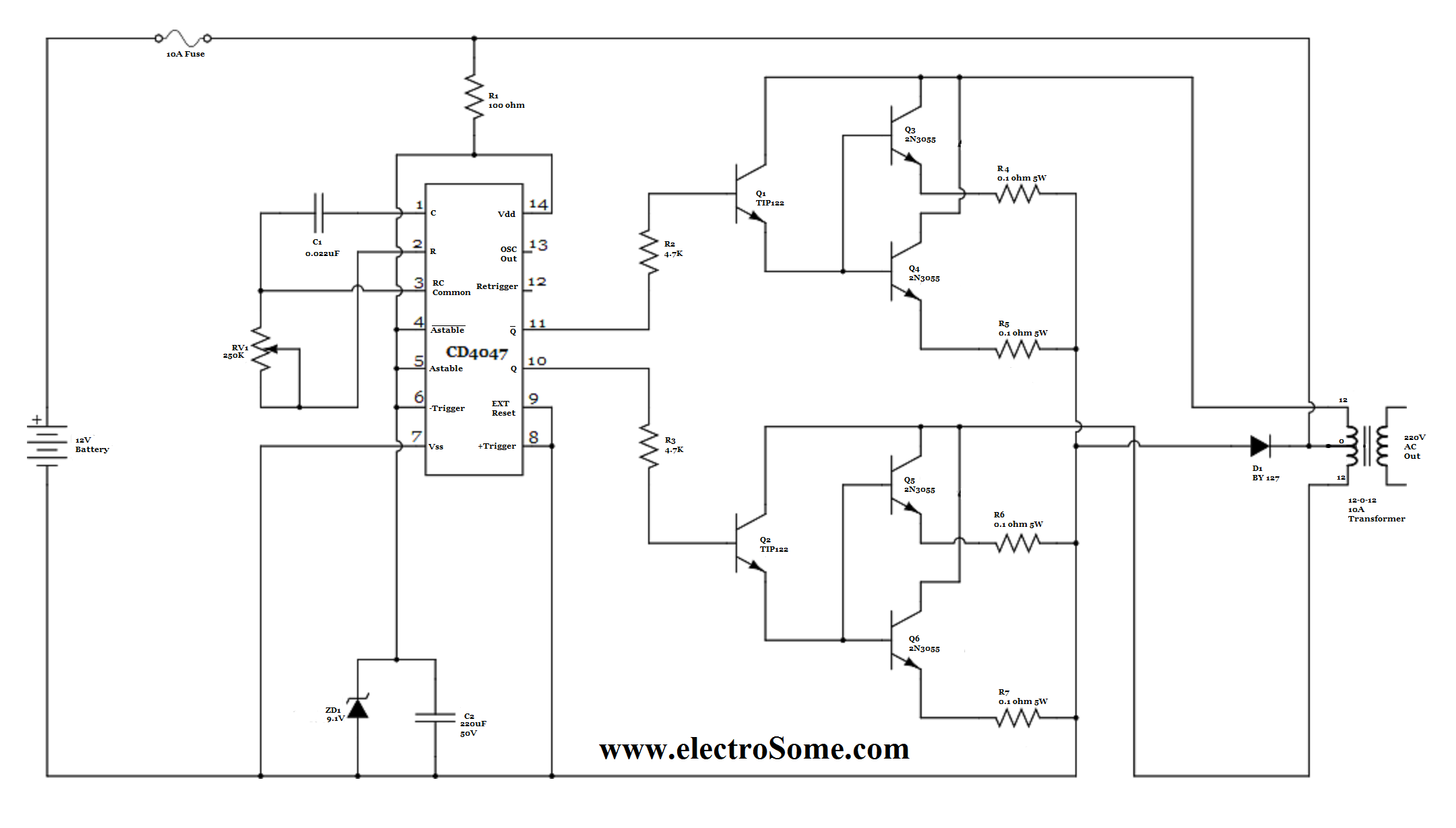 low power inverter using cd4047