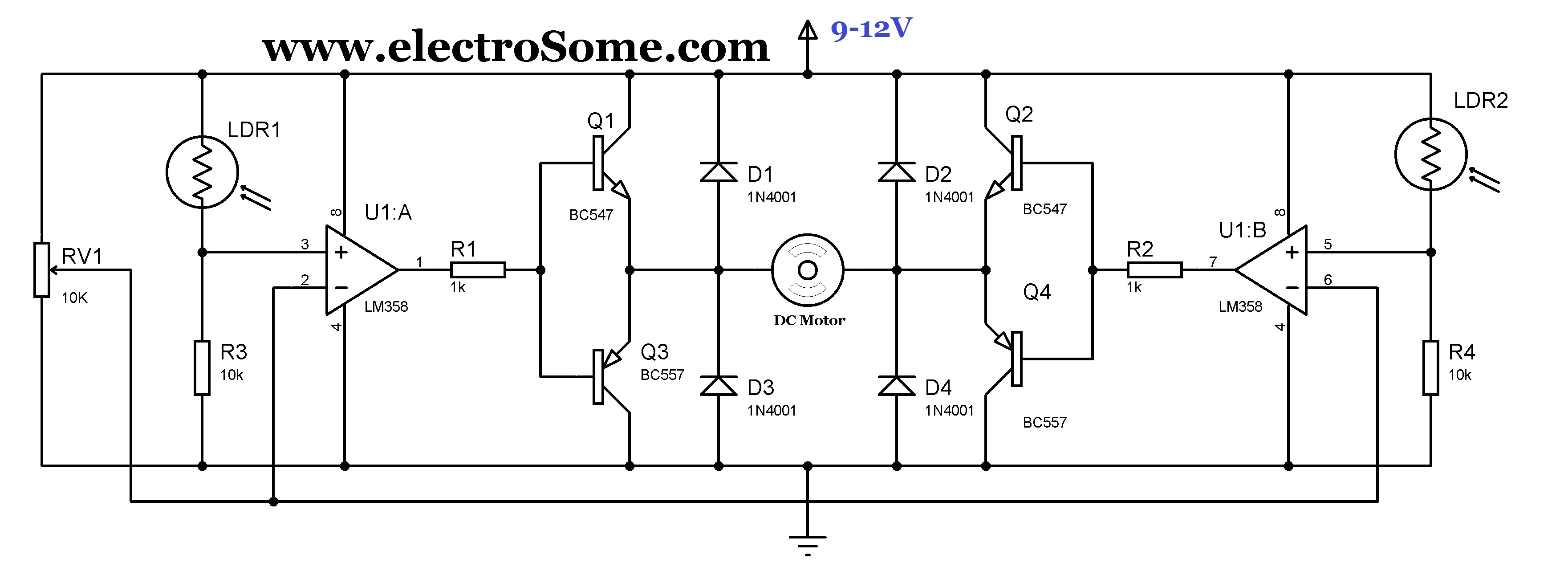 solar tracker system using lm358 - schematic