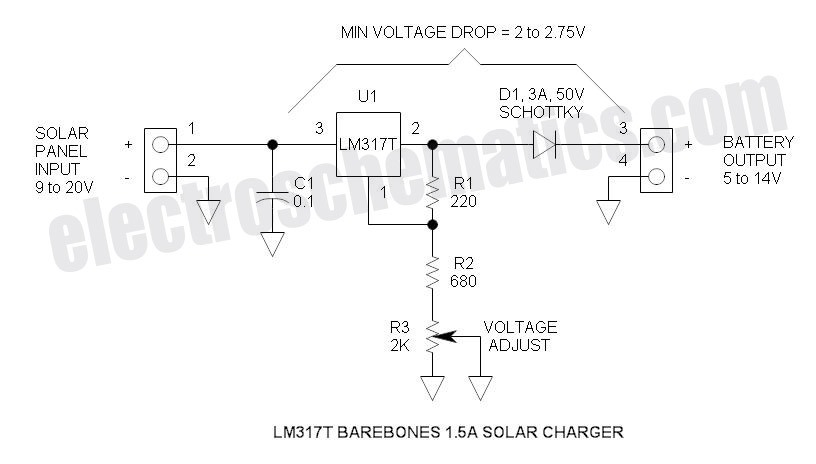 Solar Battery Charger Circuit - schematic