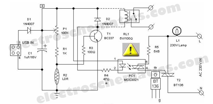 LDR PC Desk Lamp - schematic