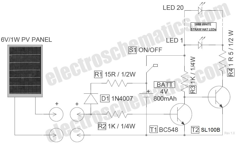 LED Solar Lantern Lights Circuit - schematic