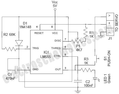555 RC Servo Tester Circuit - schematic