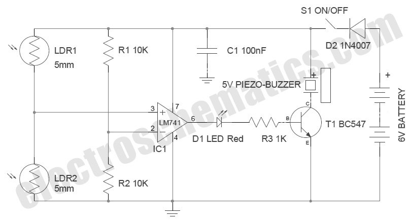 Shadow Sensor Alarm - schematic