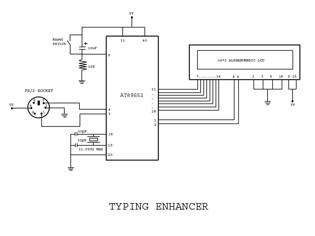 Circuits Circuit Code For Typing Assistant Using 8051 Computer Keyboard Wiring Diagram Microcontroller Ps 2 Port Of