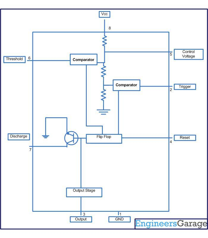 Circuit diagram for generating time delay with 555 IC - schematic