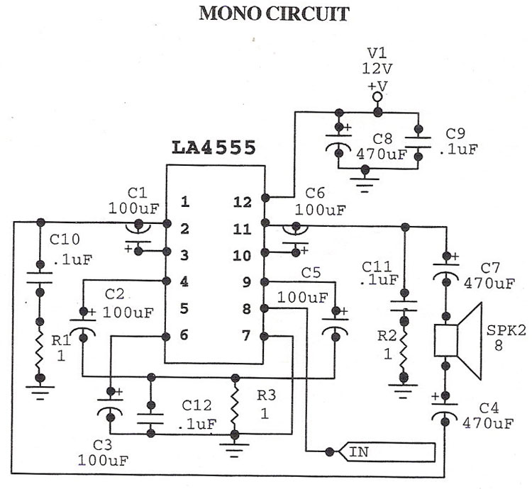 LA4555 Audio Amplifier - schematic