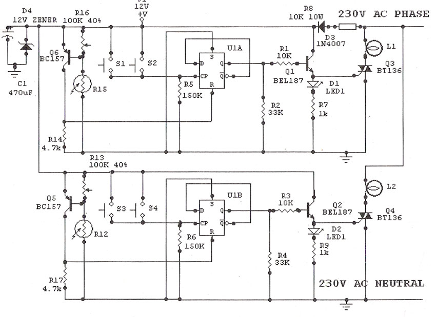 Light Sensitive Staircase Switch with Triac - schematic