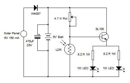 White LED Lamp with Solar Panel - schematic