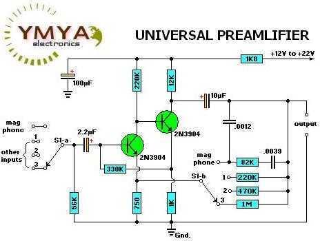 Selectable sensitivity Preamplifier - schematic