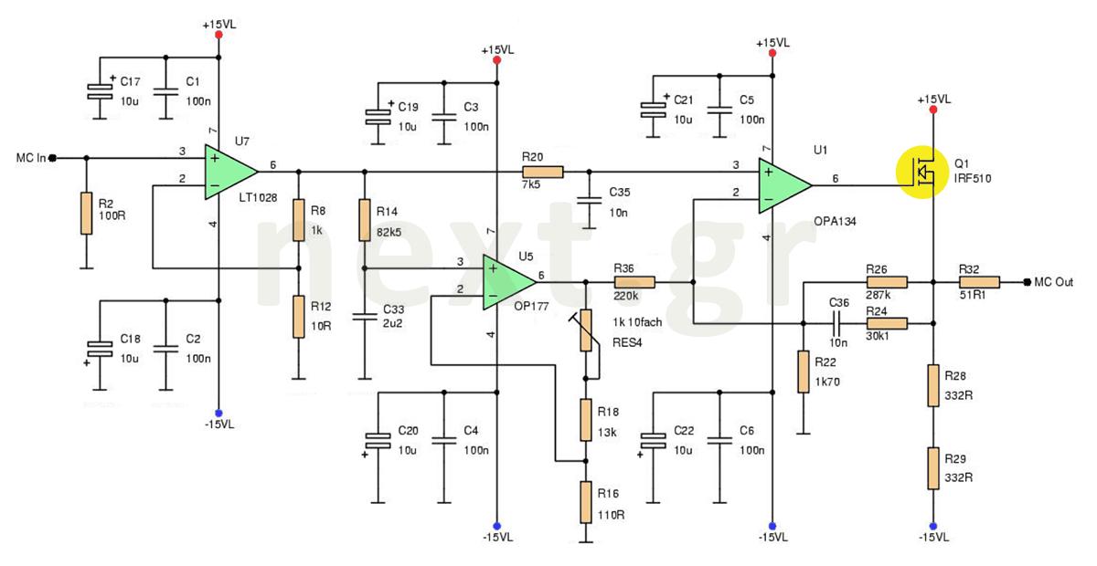 Hi-Fi Microphone Preamplifier circuit - schematic