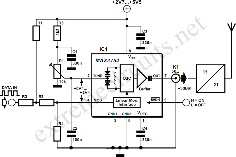 1.2GHz Voltage Controlled Oscillator With Linear Modulation - schematic