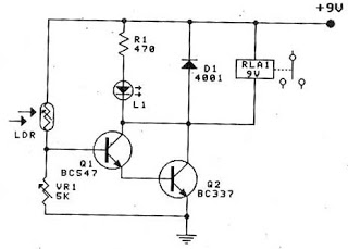 BC337 Light Relay Switch By BC547 & - schematic