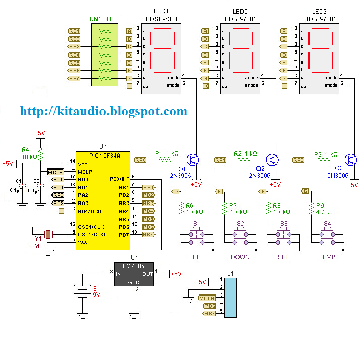 digital thermometer with pic16f84 - schematic