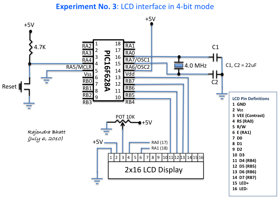 Interface a HD44780 Character LCD with a PIC Microcontroller - schematic