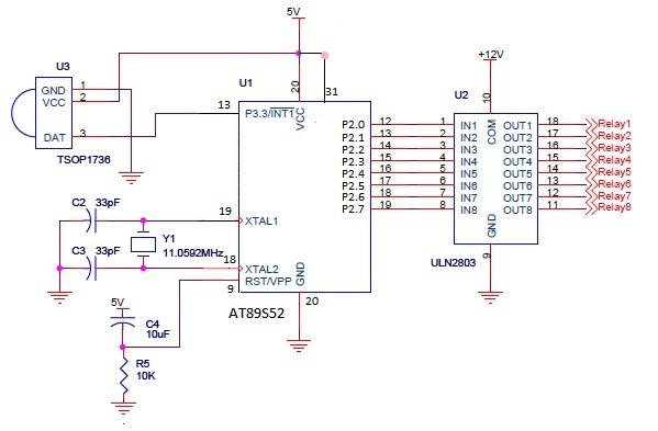 Circuit for controlling 8 appliances using TV Remote - schematic