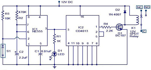 Magnetic Proximity Switch Circuit - schematic
