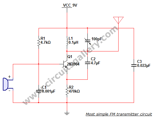 Most simple FM transmitter circuit diagram - schematic