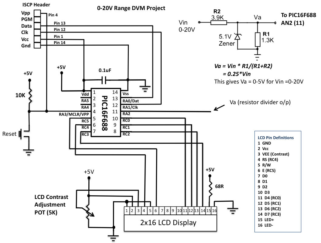 pic16f688 based digital voltmeter - schematic