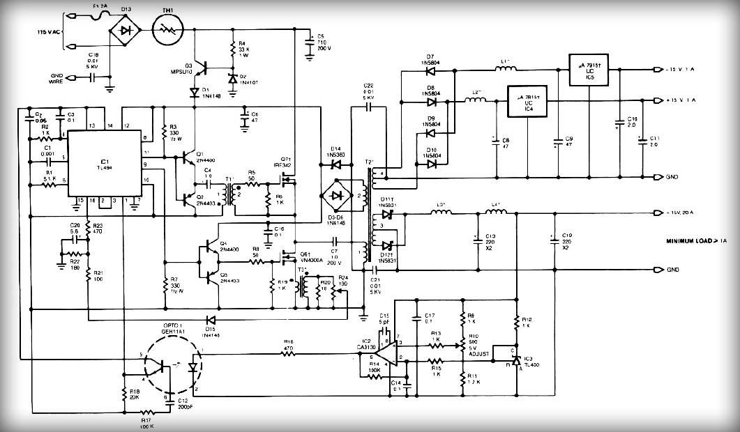Output Switching Power Supply Circuit Schematic Diagram