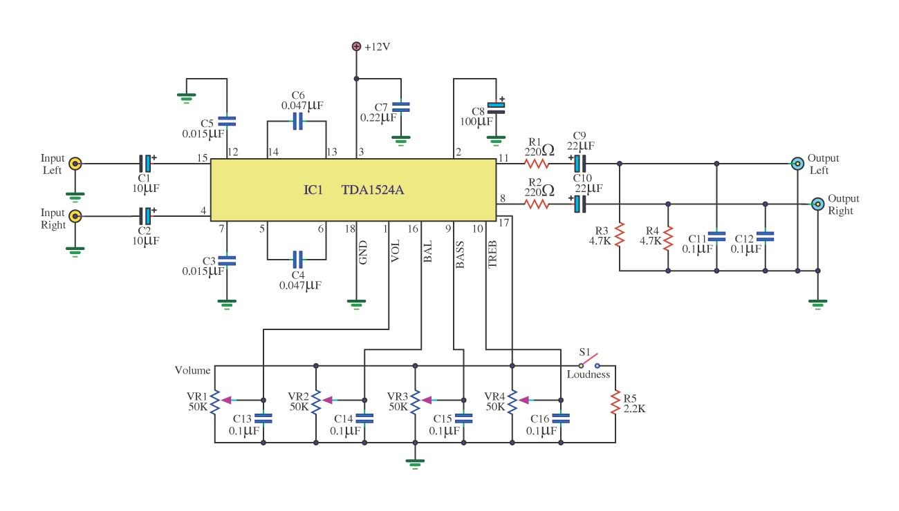 tone control circuit using tda1524a - schematic