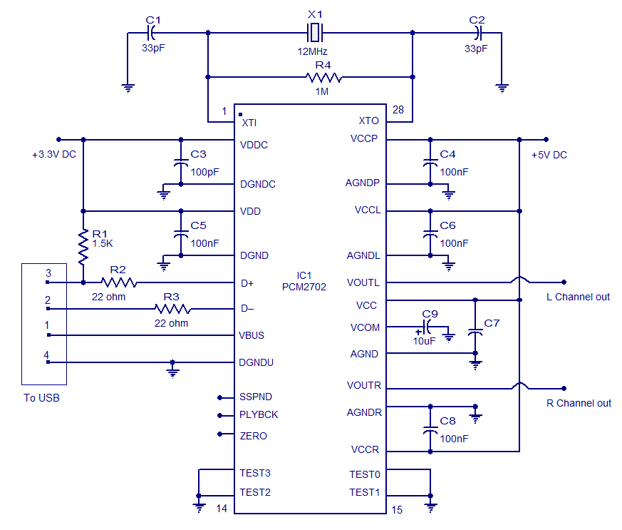 USB sound card - schematic