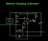 battery charger indicator circuit - schematic