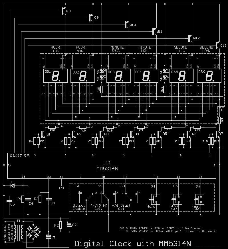 segment clock circuit diagram the wiring diagram circuits > 7 segment digital clock circuit using ic 5314 pcb wiring diagram