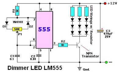 Electronic Circuit Schematic Dimmer LED using LM555 for Photo/Build Light