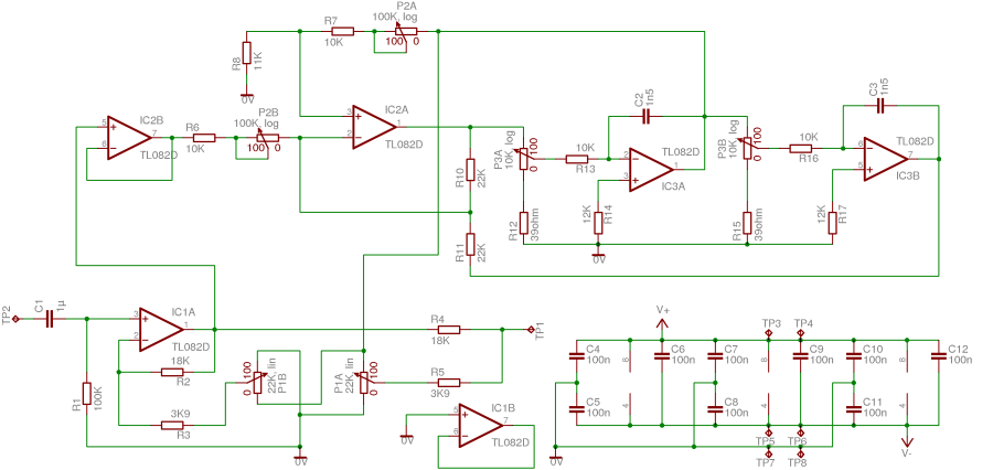 PCB Parametric Audio Equalizer - schematic