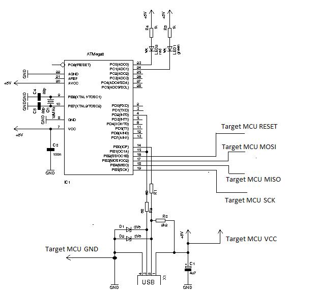 USB program loader for AVR microcontroller - schematic