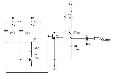 Sine wave oscillator - schematic