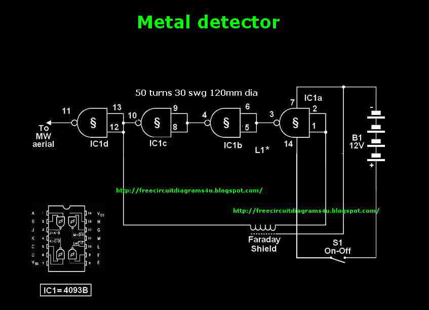 Mettle Detector circuit with Ic4093 - img1