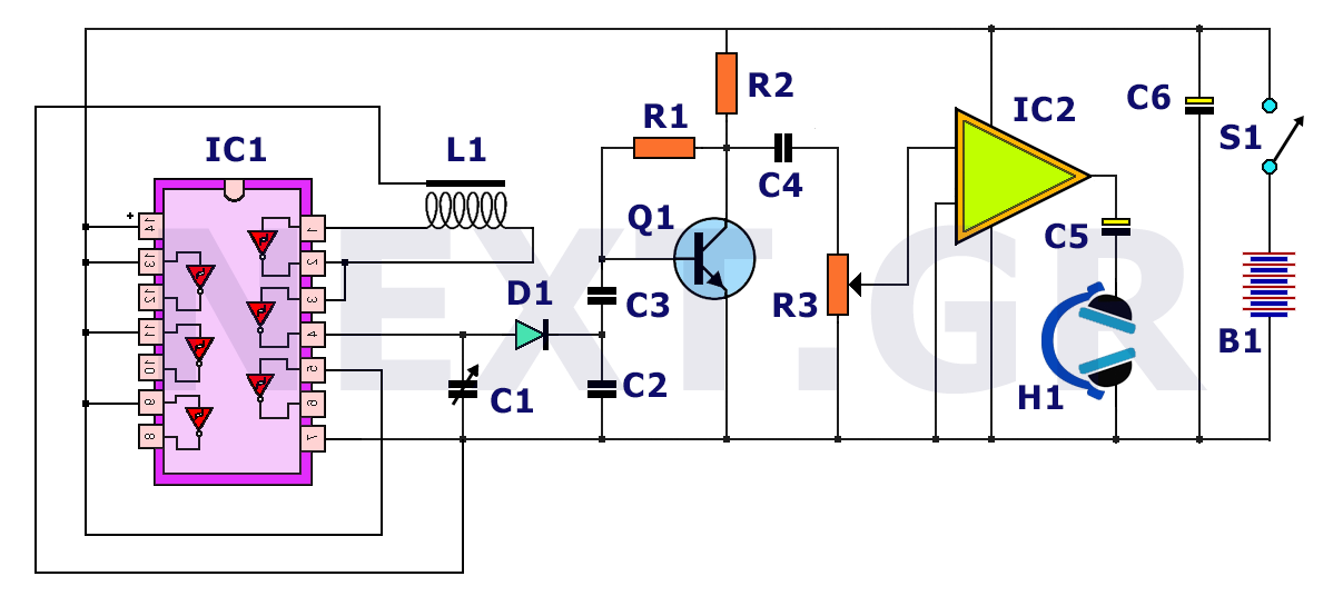 Simple deep searching metal detector circuit - schematic