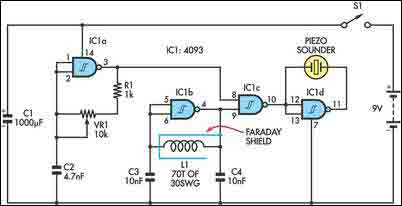 BFO metal Detector Circuit with IC 4093 - img1