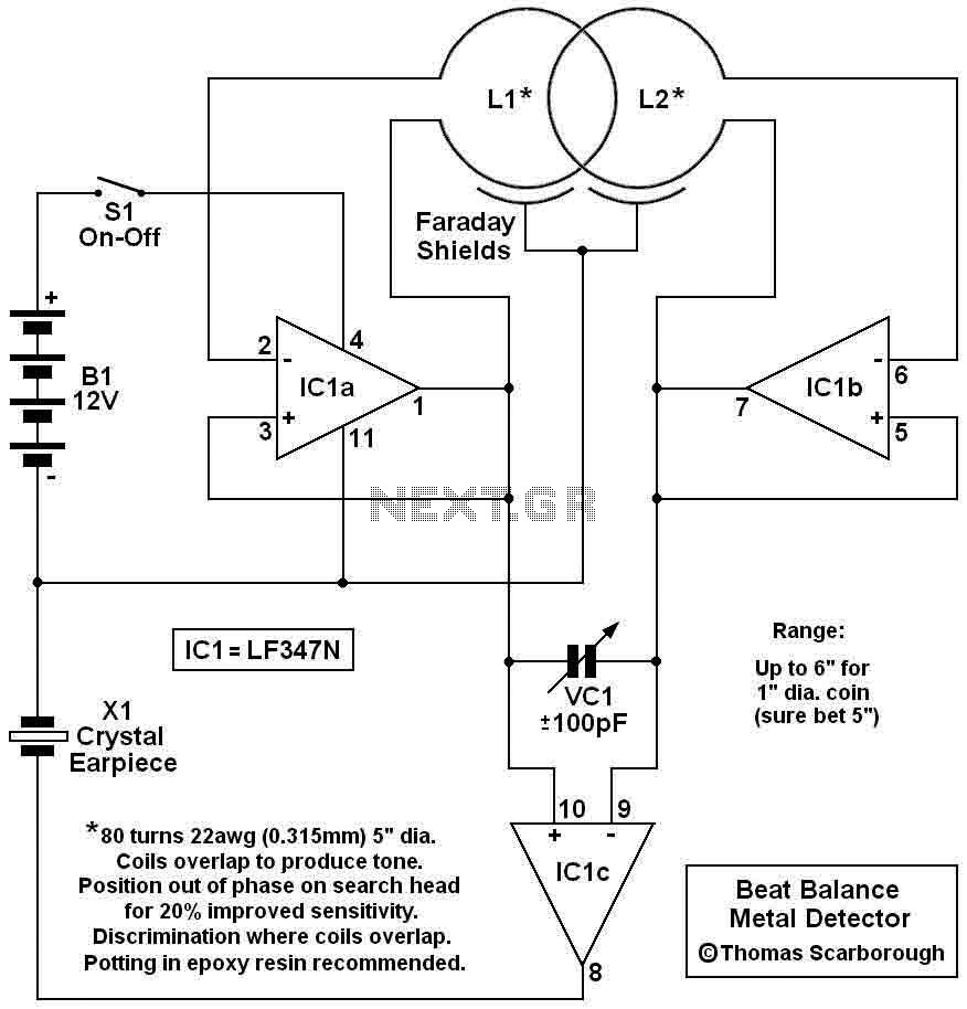 BFO Metal Detector using LF347N · Here's a metal detector circuit ...